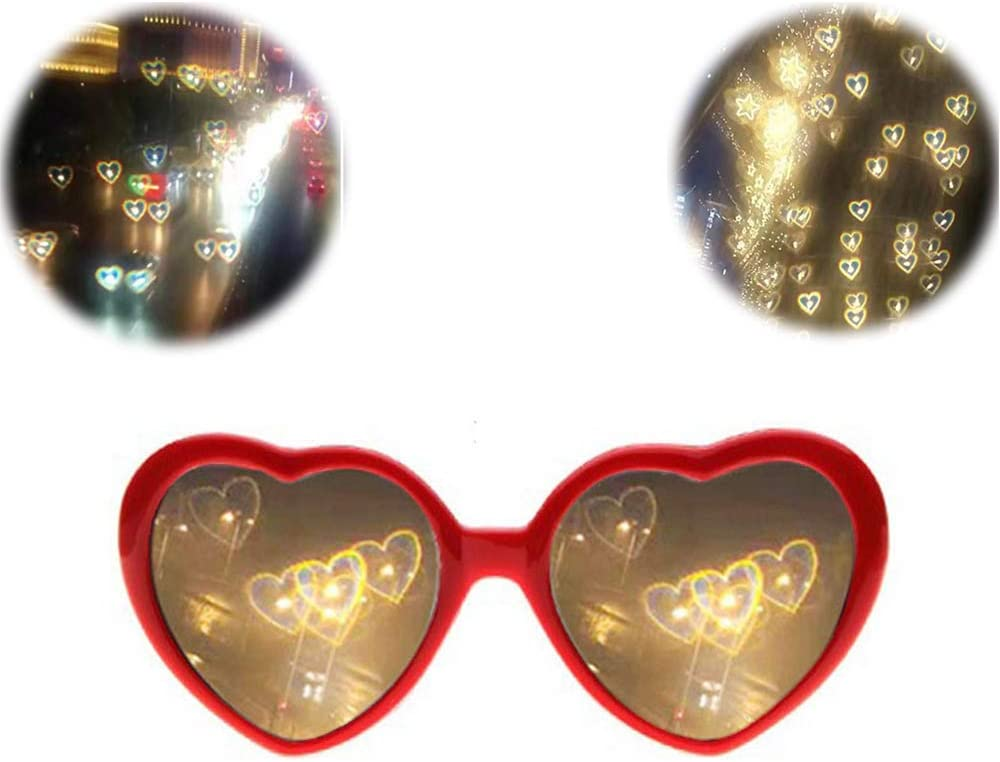 SJLHP 3D Glasses Hearts Fireworks Diffraction Glasses Special Effect Light for Outdoor Music Party//Bar//Fireworks Displays,Red