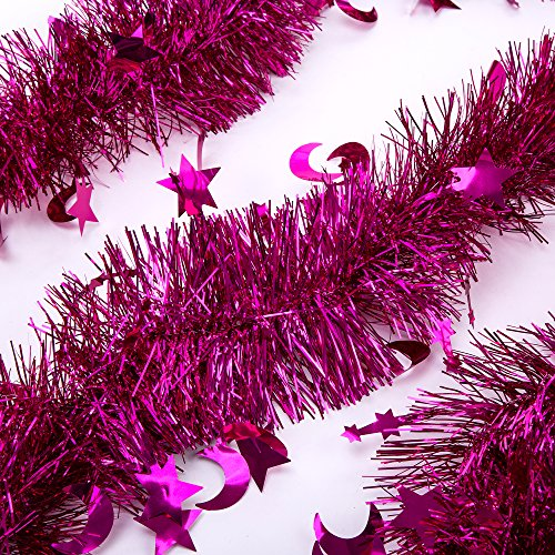 iPEGTOP 3 Pcs 6.5 Ft Christmas Tinsel Garland, Sparkle Holiday Party Ceiling Tree Decorations Star Moon Hanging Ornaments, Hot pink