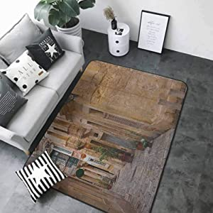 """Slip-Resistant Washable Entrance Doormat Travel,Old Narrow Street European Town in Vittoriosa Malta Historical Architecture Country, Sand Brown 36""""x 60"""" Bedroom Rugs"""