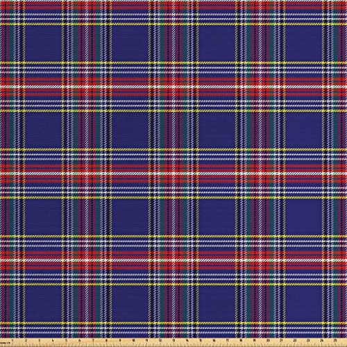 - Ambesonne Plaid Fabric by The Yard, Old Fashioned Scottish Tartan Country Style with Geometric Look Abstract Arrangement, Decorative Fabric for Upholstery and Home Accents, 1 Yard, Multicolor