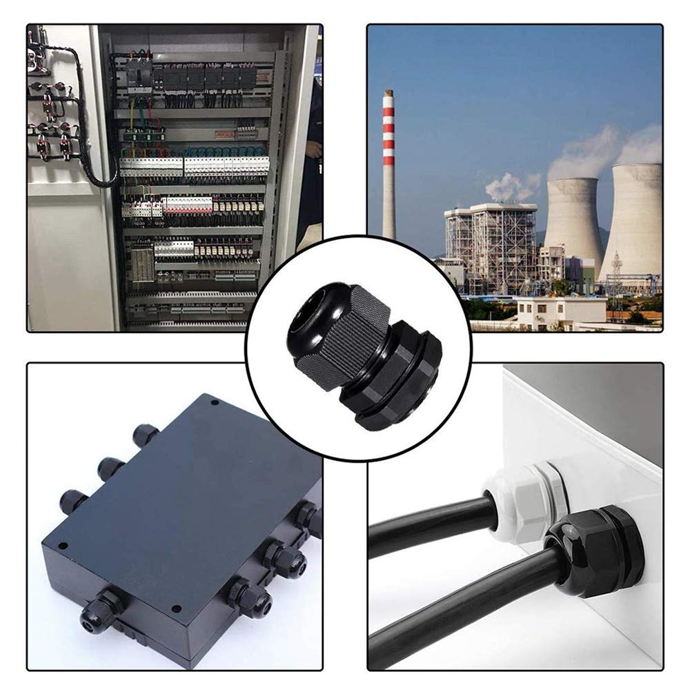 PG7, PG9, PG11, PG13.5, PG16, PG19 QitinDasen 70Pcs Premium Nero Nylon Pressacavi 3~15mm Regolabile IP68 Impermeabile Giunti Pressacavo Impermeabili Pressacavi Connettori con Guarnizioni