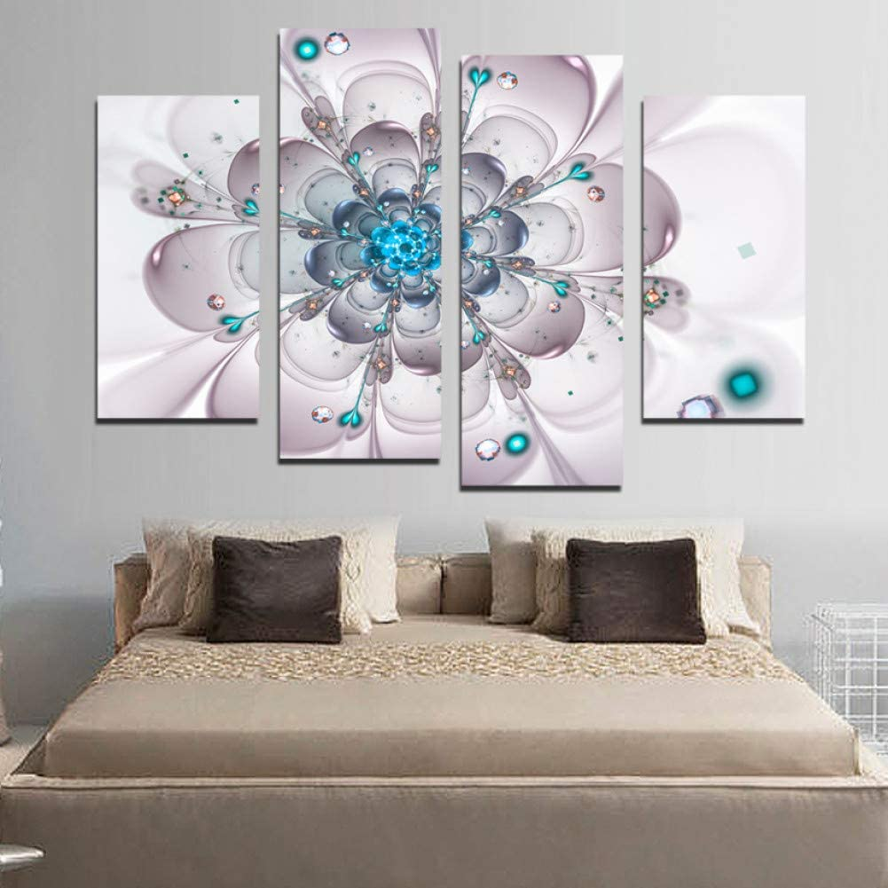 Amazon Com Jfsjdf 4 Pcs Canvas Painting Flower Simple Cute Paintings For Living Room Such Beauty Picture On The Wall Printed Unframed Furniture Decor