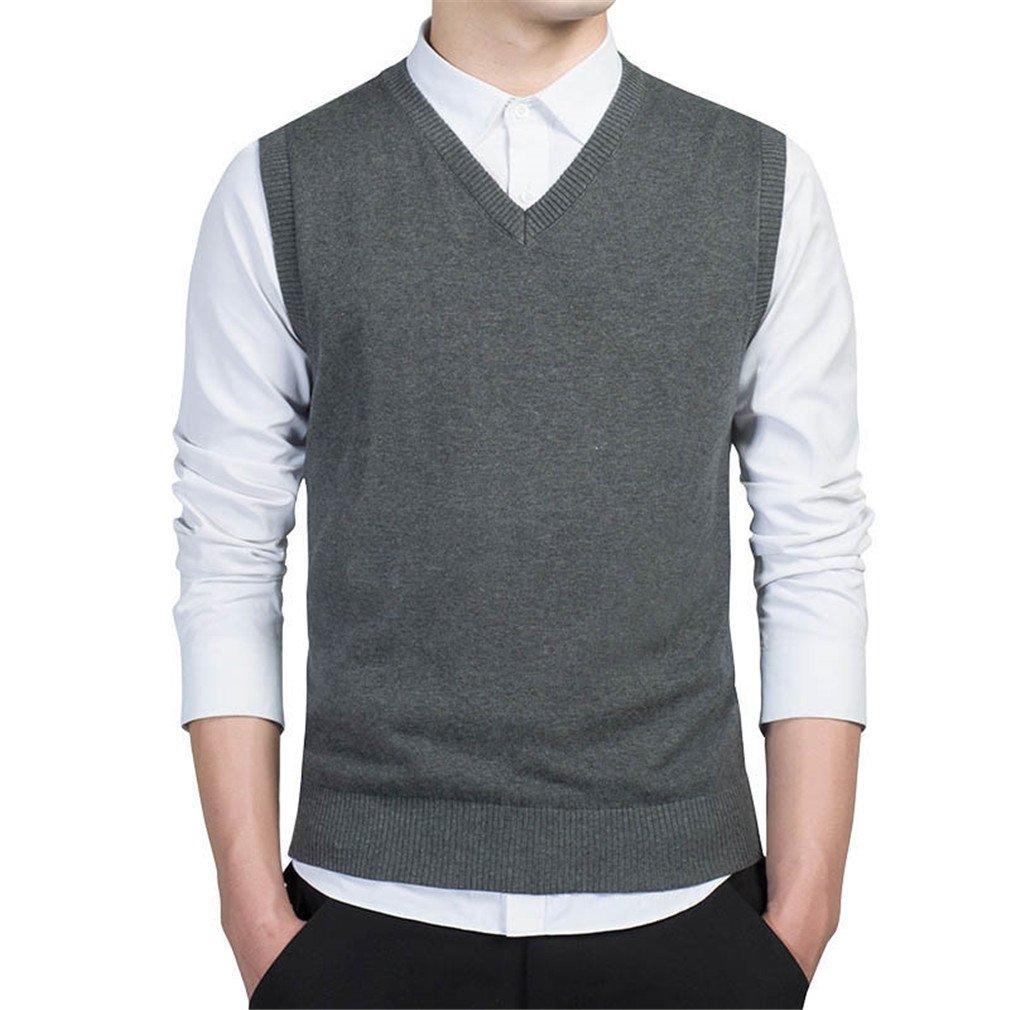 PUTAOJIAZI Pullover Sweater Men Slim Vest Sleeveless Men's Warm Sweater Cotton Casual Dark Grey 7789 XL