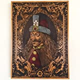 Vlad The Impaler Dracula Portrait Carved on Wood 15.5 x 11.5