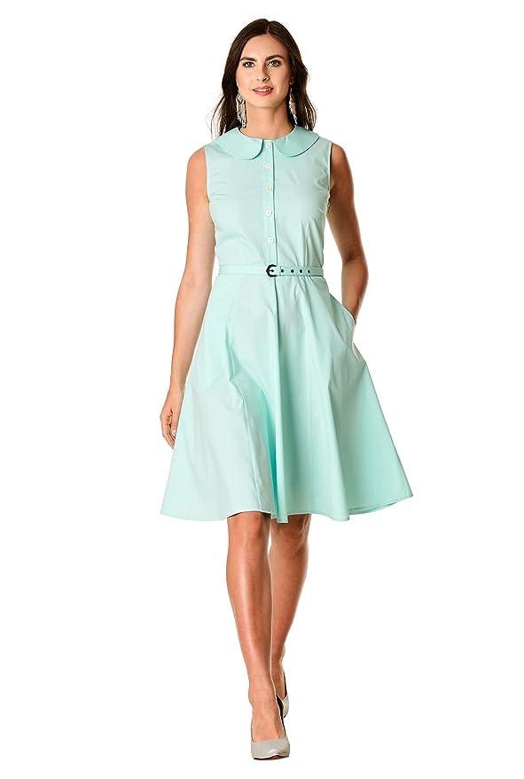 Swing Dance Dresses | Lindy Hop Dresses & Clothing eShakti FX Peter Pan Collar Stretch poplin Belted Dress- Customizable Neckline Sleeve $54.95 AT vintagedancer.com