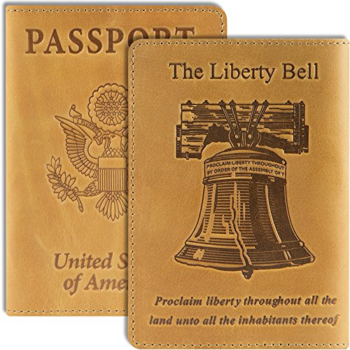 Engraved Liberty Bell - Shvigel Passport Cover - Leather Holder - Love America Collection (the Liberty Bell Light Yellow Vintage)