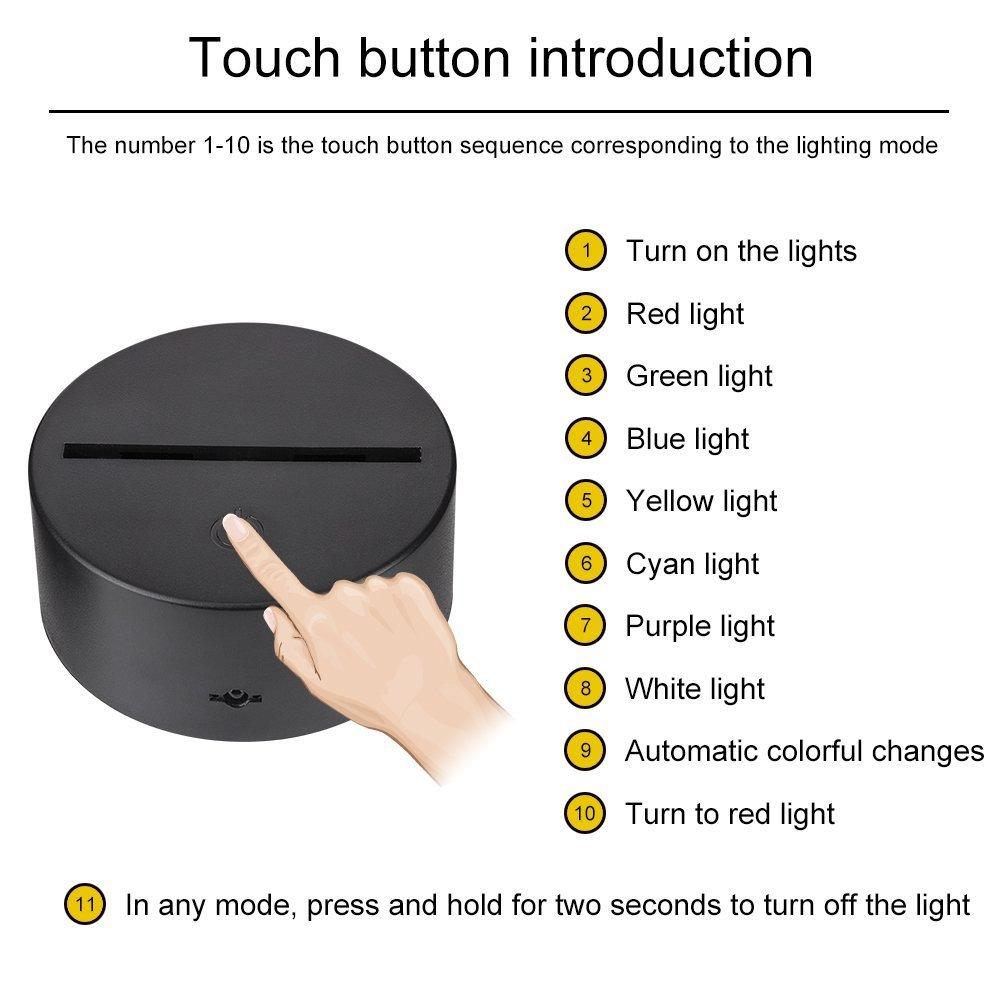 Creativo 3D Gimnasia Luz de Noche 7 Colores que Cambian USB Poder Touch Switch Ilusi/ón /óptica Decor L/ámpara LED Mesa L/ámpara Ni/ños Juguetes Cumplea/ños Navidad Regalo