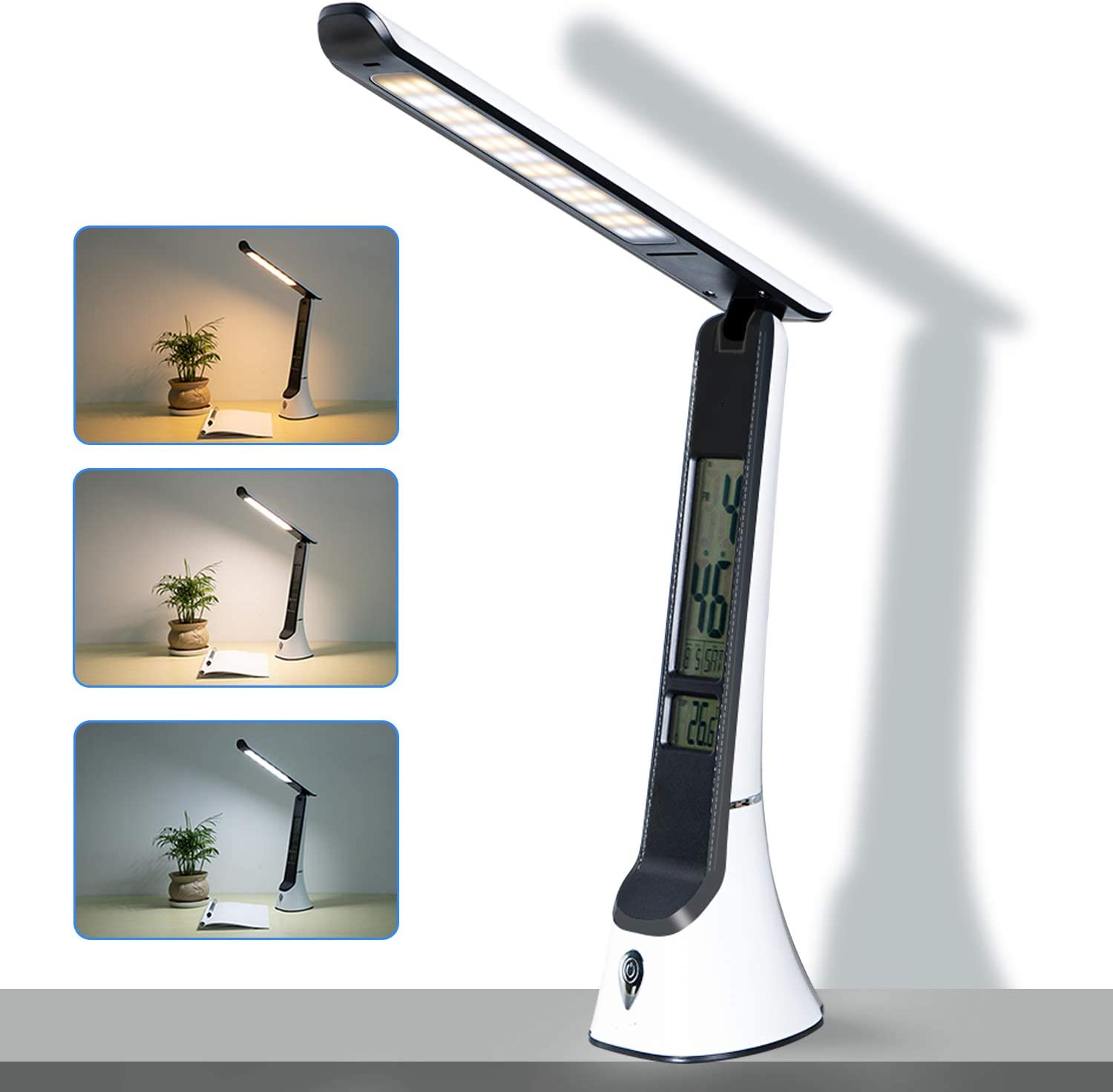 LED Desk Lamp LCD Screen Ouesen,Lamp Clock with 3 Color Modes&Stepless Dimming,Touch Control Small Desk Lamp Have Calendar,Built-in Clock,Thermometer,USB Charging Port Study Lamp for Home and Office