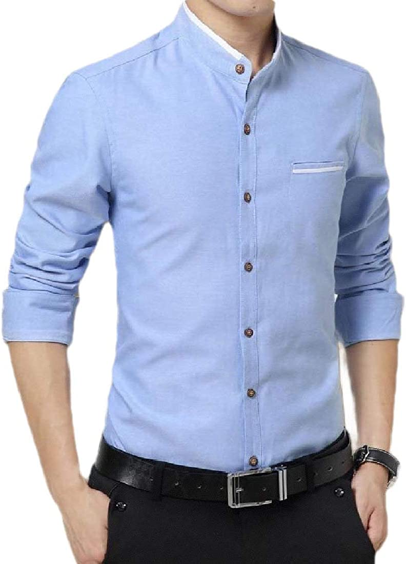 ZXFHZS Mens Long-Sleeves Buttoned Banded Collar Work Shirts