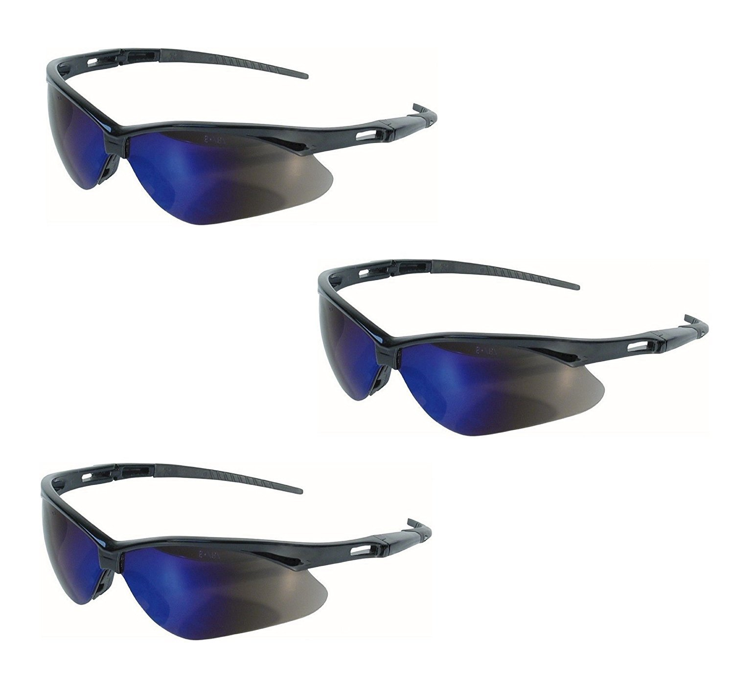 Jackson Safety V30 14481 Nemesis Safety Glasses 3000358 (3 Pair) (Black Frame with Blue Mirror Lens) by Jackson Safety