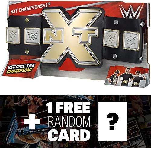 NXT Championship: WWE Championship Belt + 1 FREE Official WWE Trading Card Bundle (DYF74) by Mattel