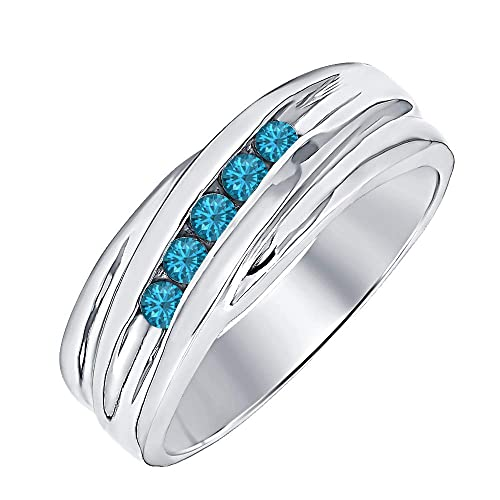 RUDRAFASHION 14k Rose Gold Plated Round Cut Swiss Blue Topaz 925 Sterling Silver Mens Anniversary Band Ring