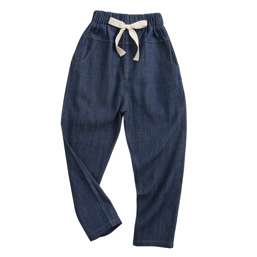 Sanlutoz Ragazzine Moda Jean Casuale cotone Pantaloni morbido Arco Bambini Abbigliamento