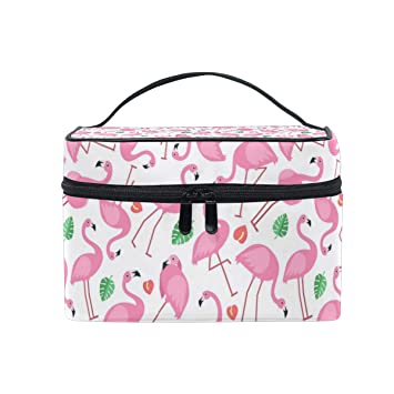 85fdbe650980 Cosmetic Bag Pattern With Pictures Of Pink Flamingo ... - Amazon.com