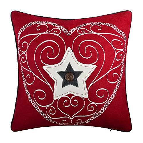 OiseauVoler Embroidery Pillow Cases Wool Hear Star Applique Decorative Cushion Covers Handmade Pillowslips Home Sofa Car Bed Room Decor Shells 20 x 20 Inch Red Coconut (Handmade Coconut Button)