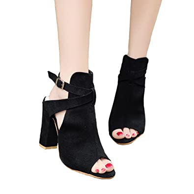 32edcaa80272 GATUXUS Open Toe Women High Chunky Heel Strappy Pumps Dress Sandals Shoes  Party Prom Boots (