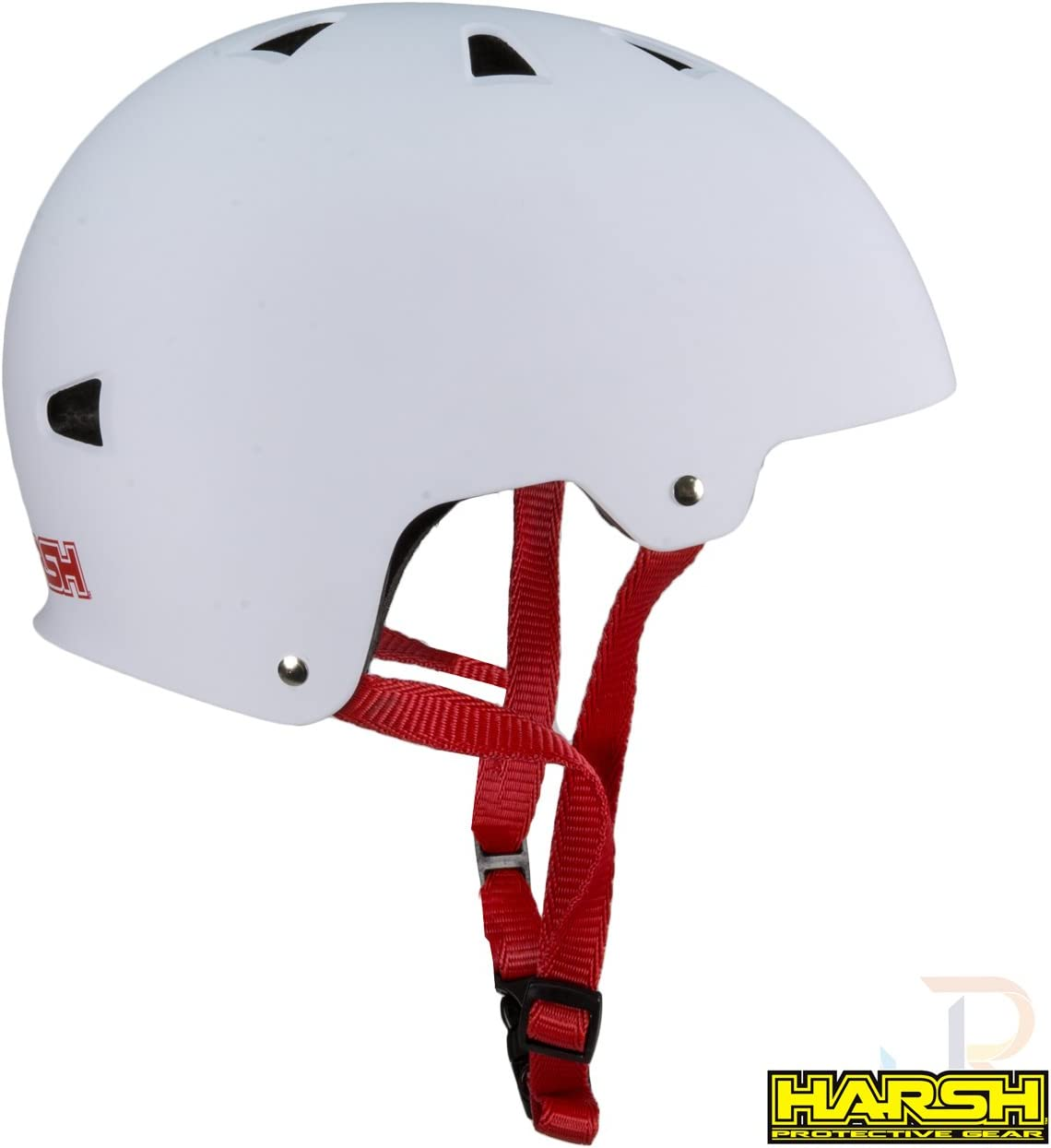 White with Red Strap Harsh ABS Scooter Skateboard Helmet