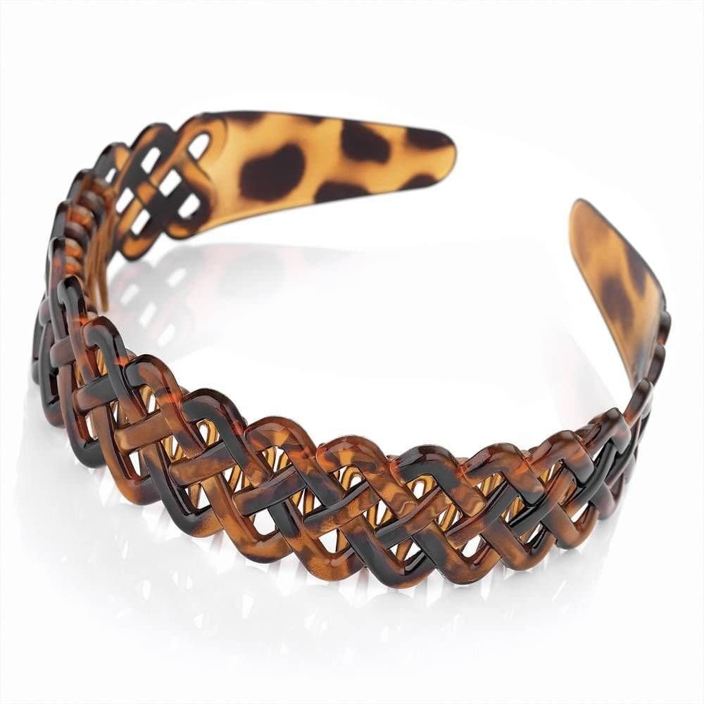 Brown tortoiseshell effect head band Alice band with comb inset Girls Ladies UK