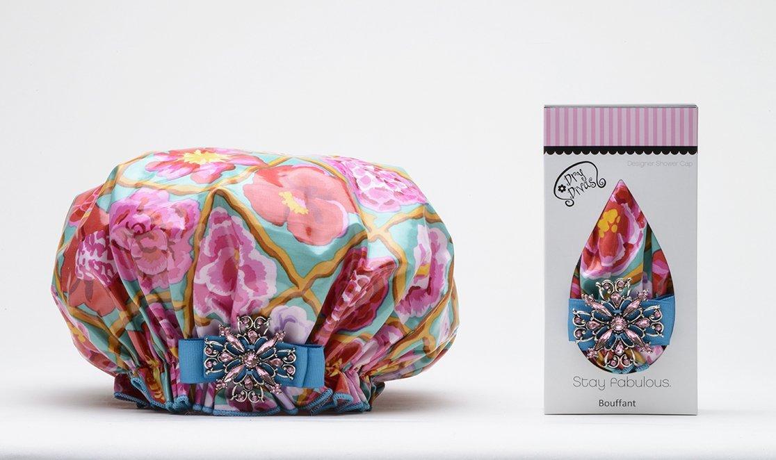 Dry Divas Designer Shower Cap For Women - Washable, Reusable - Large Bouffant Cap With Vintage Jeweled Brooch (English Garden)