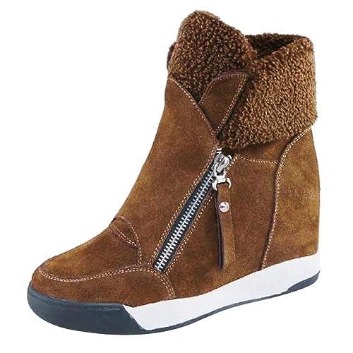 Botas Ankle Tacón Cuña Altos para Mujer Otoño Invierno,Mujeres Cuñas Zapatos De Felpa Muffin Zapatillas Zapatos Casuales De Gamuza Mantener Caliente Botas ...