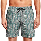 Ornamental Bird Feather Mens Quick Dry Classic Fit Beach Shorts with Drawstring