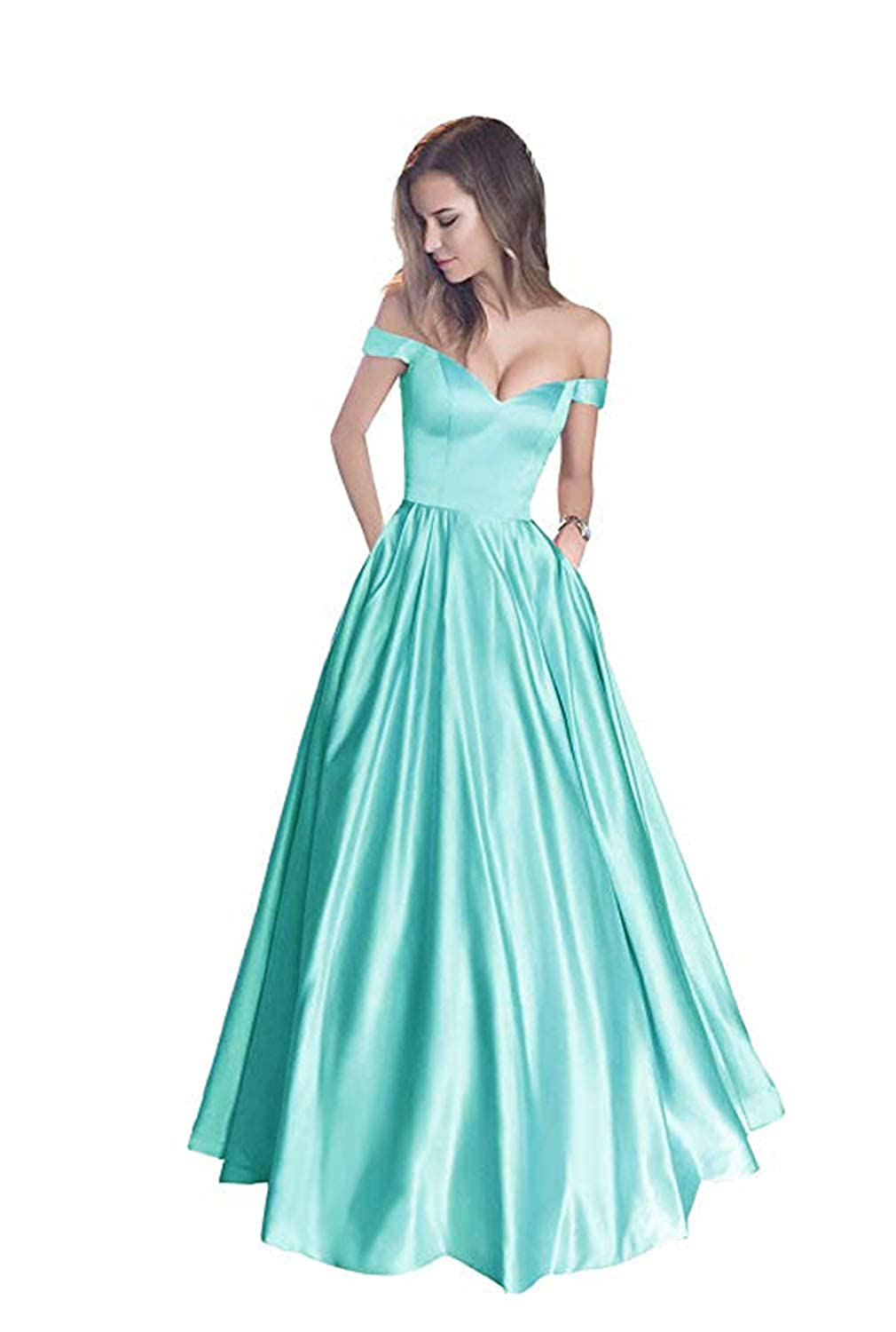 Aqua without Belt FJMM Womens Off The Shoulder Beaded ALine Prom Dress for Party