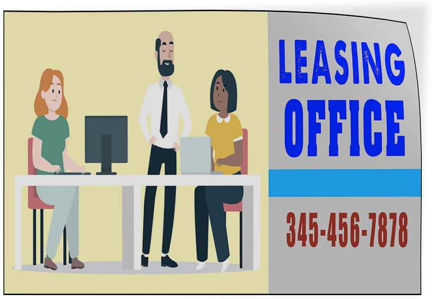 Custom Door Decals Vinyl Stickers Multiple Sizes Leasing Office Phone Number Business Leasing Office Outdoor Luggage /& Bumper Stickers for Cars Red 72X48Inches Set of 2
