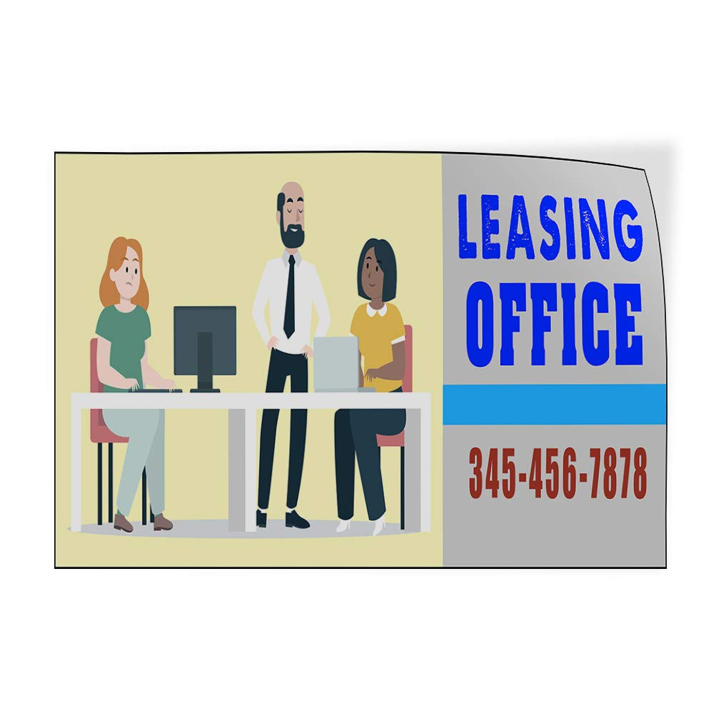 Custom Door Decals Vinyl Stickers Multiple Sizes Leasing Office Phone Number Business Leasing Office Outdoor Luggage /& Bumper Stickers for Cars Red 27X18Inches Set of 5