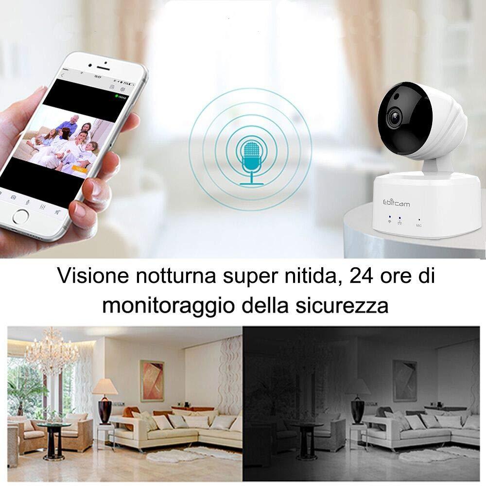 Ebitcam 1080P HD Inteligente WiFi Domo, cámara de Seguridad IP inalámbrica, Pan/Tilt/Zoom, visión Nocturna, programación de grabación con Alarma de ...