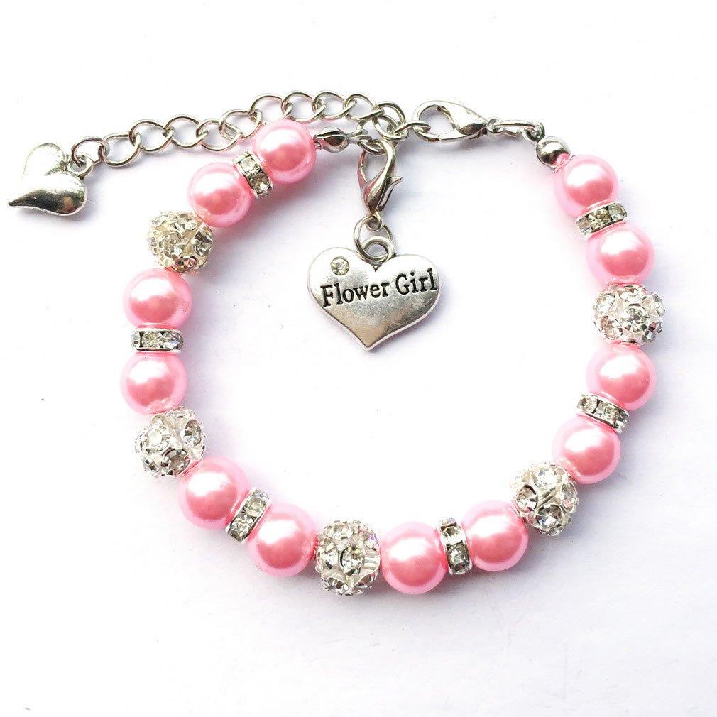 DOLON Faux Pearl Beaded Flower Girl Charm Bracelet Handmade Thank You Wedding Gift Girls Teens Jewelry Fuchsia