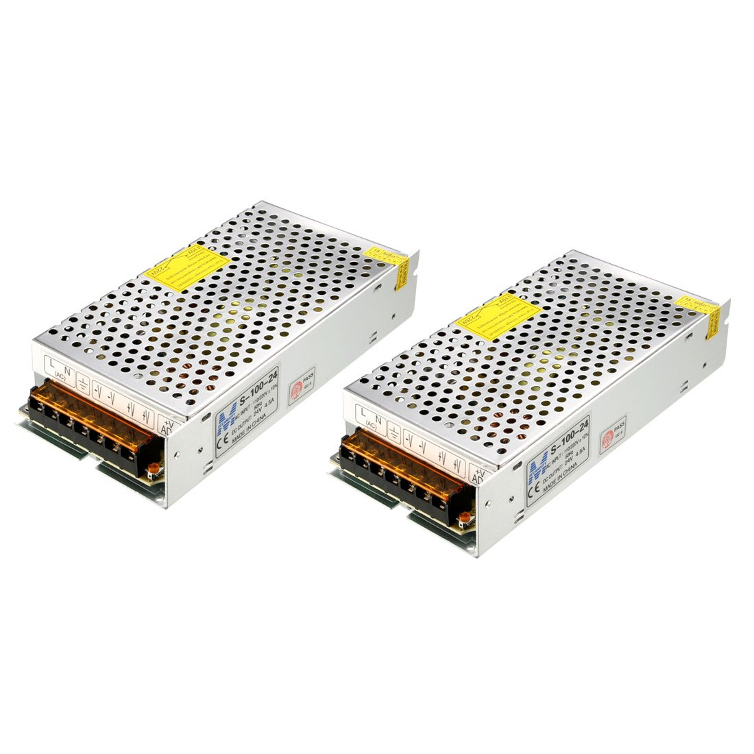 uxcell 2pcs Switch Power Supply Driver S-100-24,AC 110V/220V to DC 24V 4.5A 100W for LED Strip Light