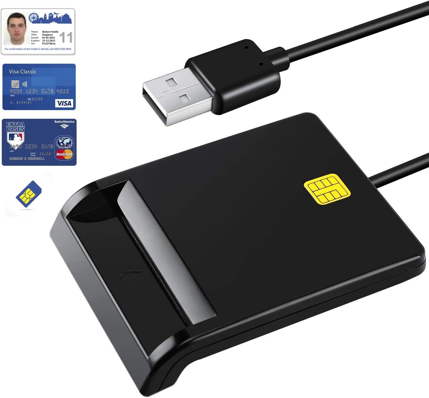 MMUSC CAC Smart Card Reader DOD Military USB Common Access, Compatible with Mac OS, Windows, Linux, Black