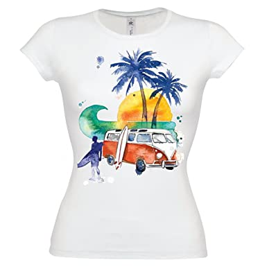 Ethno Designs Womens Streetwear & Surfer T-Shirt California Surf Slim Fit Xs White