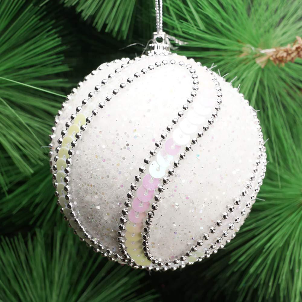 Longay Christmas Rhinestone Glitter Baubles Balls Xmas Tree Ornament Decoration 8CM (White)