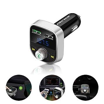 ONEVER Cargador Bluetooth Transmisor FM Cargador de Coche ...