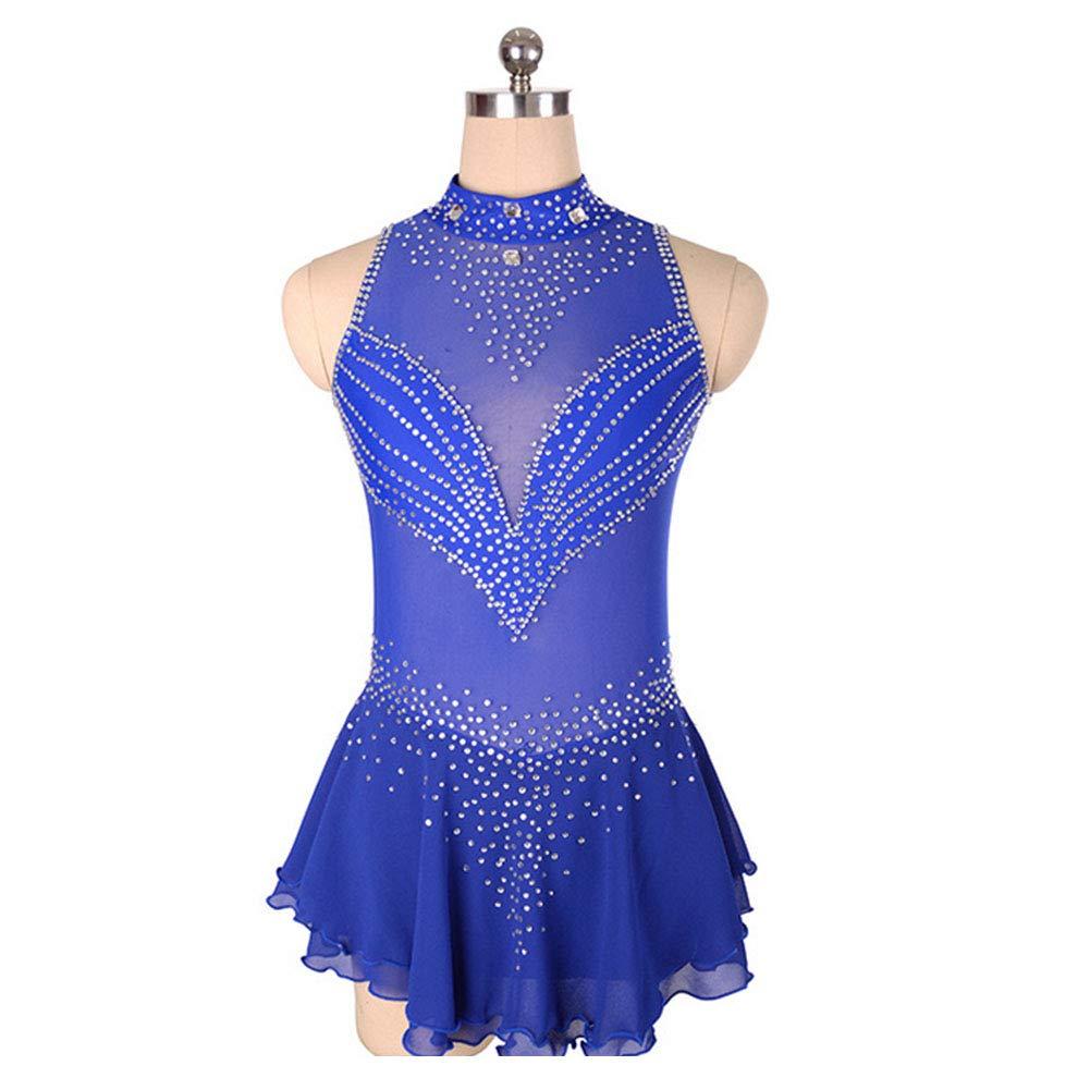 フィギュアスケート女の子のためのドレス女性スケート競争のパフォーマンスのコスチュームダンスコスチュームドレスプロフェッショナルストレッチ通気性 B07MNDHJBK X-Small|Blue Blue X-Small