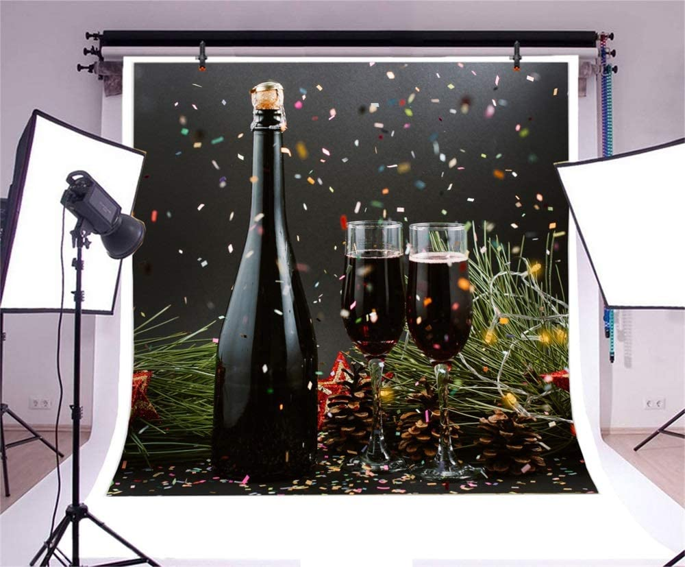 Laeacco Merry Christmas Happy New Year Backdrop Vinyl 10x10ft Red Wine Bottle Glasses Pine Cones Confetti Photography Background New Years Eve Celebrating Party Banner Child Kids Baby Shoot