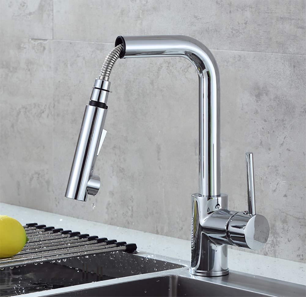 Pull Out Kitchen Sink Faucet, brass Plating, Ceramic spool Effective water saving - Suitable For Kitchen, Silver color