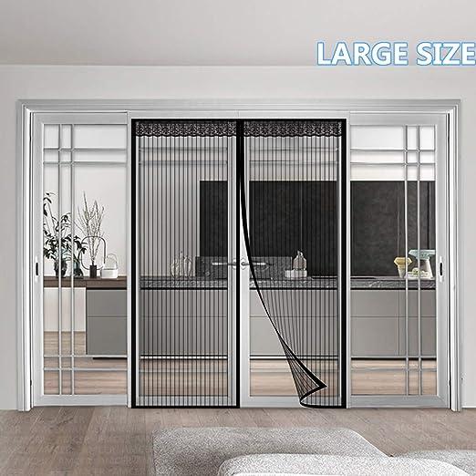 AMCER Cortina Mosquitera para Puertas, Mosquitera Magnética para Puertas, Adsorción magnética Plegable, Velcro Adhesiva, Bueno para Niños y Perros - Negro 110x270cm(43x106inch): Amazon.es: Hogar