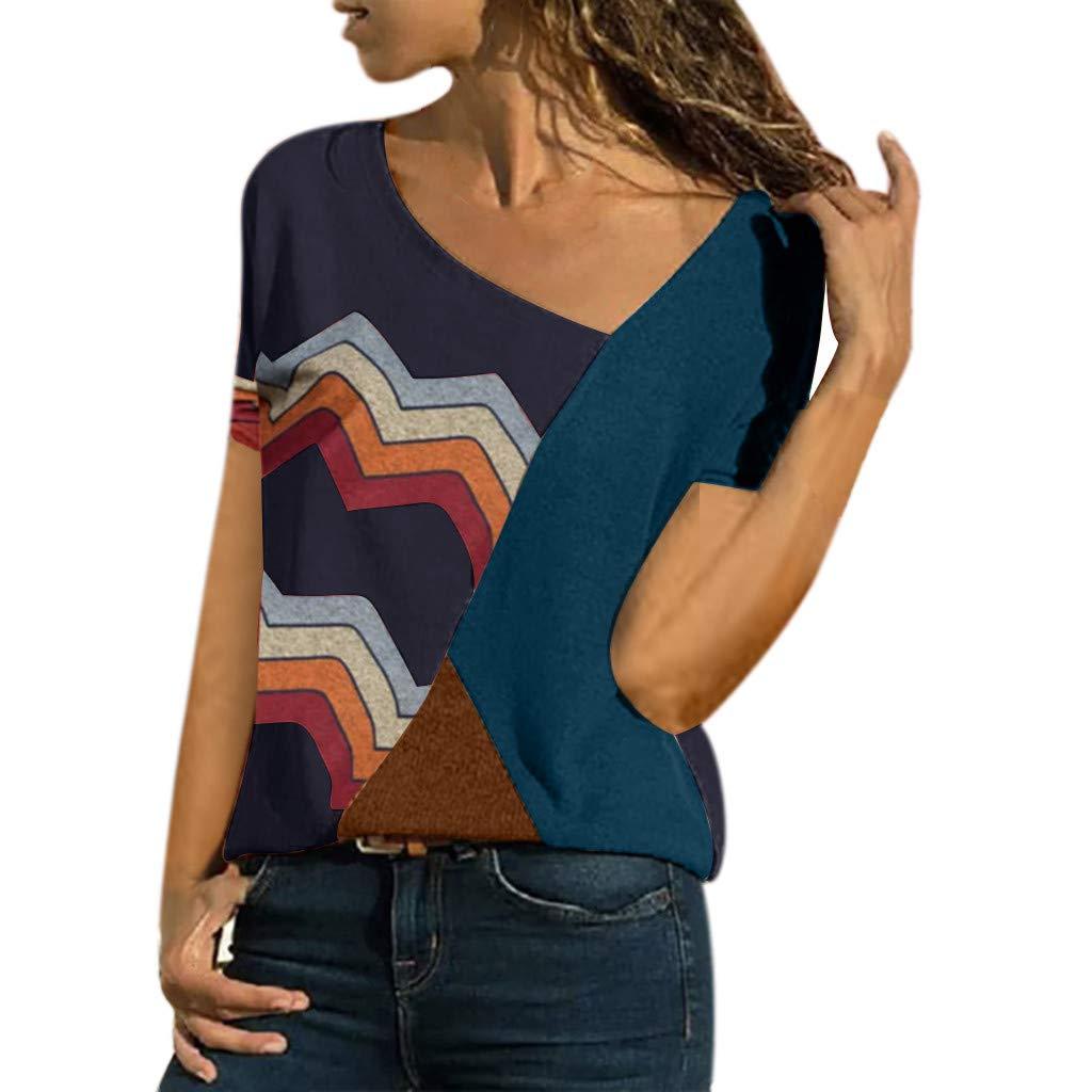 Women's Casual T-Shirts Summer Short Sleeve Color Block Stripe Print Tops Plus Size Cotton Patchwork Blouse Top Shirts (Navy, XXXXXL)