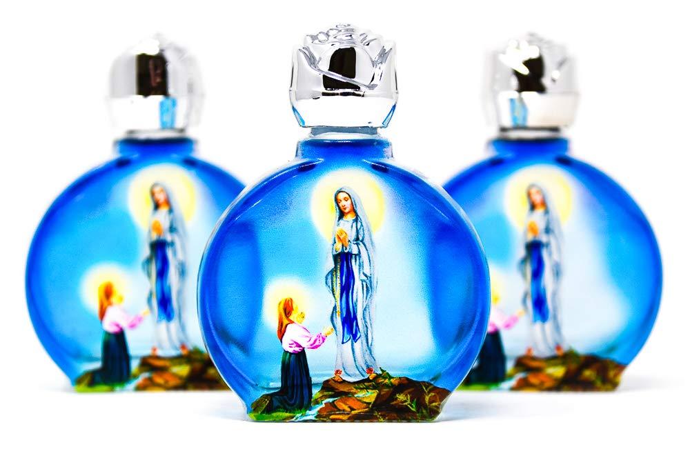Lourdes Holy Water, 3 Blue Glass Oval Bottles, Lourdes Water has Been Blessed in Lourdes by a Priest, Lourdes Prayer Card