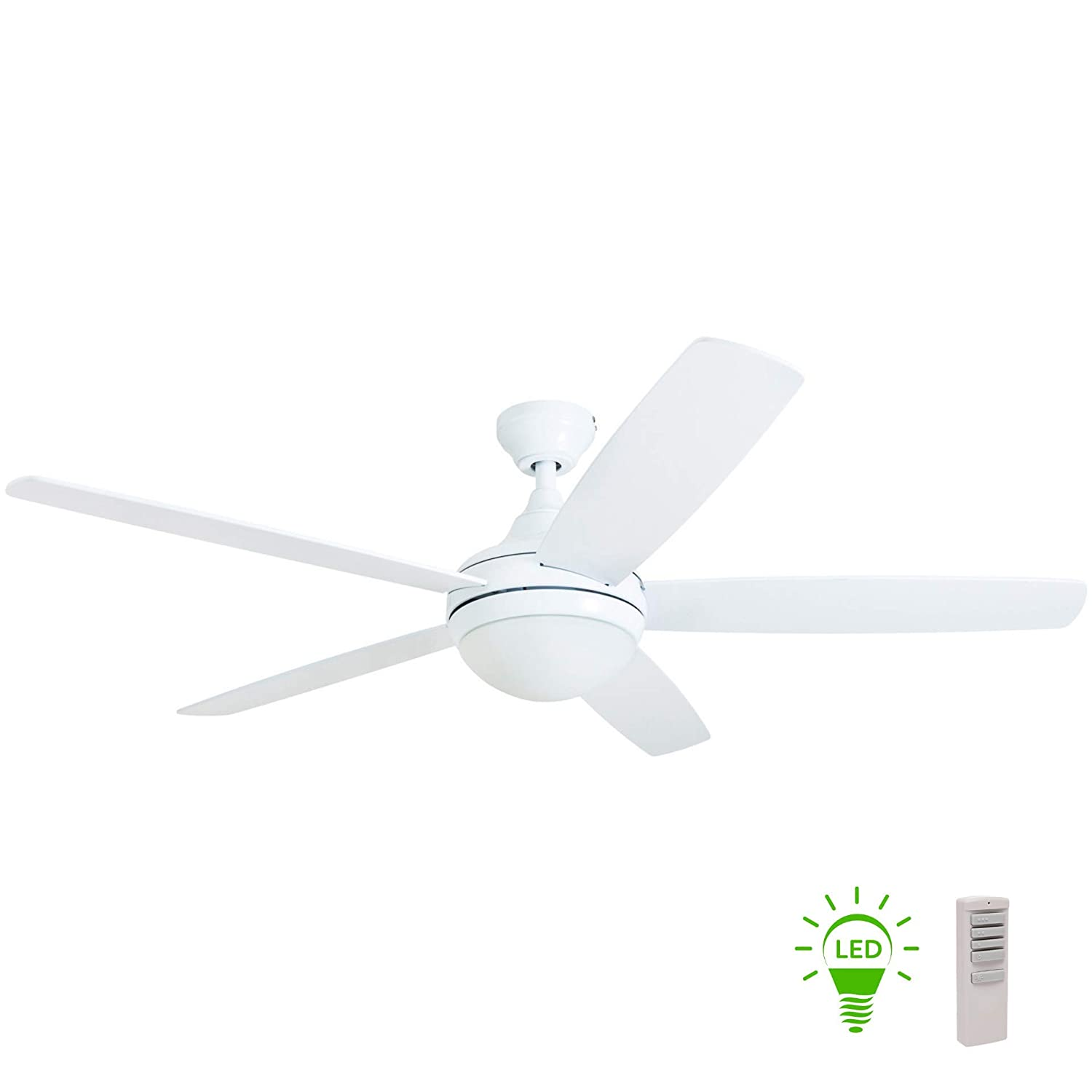 "Prominence Home 80094-01 Ashby Ceiling Fan with Remote Control and Dimmable Integrated LED Light Frosted Fixture, 52"" Contemporary Indoor, 5 Blades White/Grey Oak, Farmhouse White"