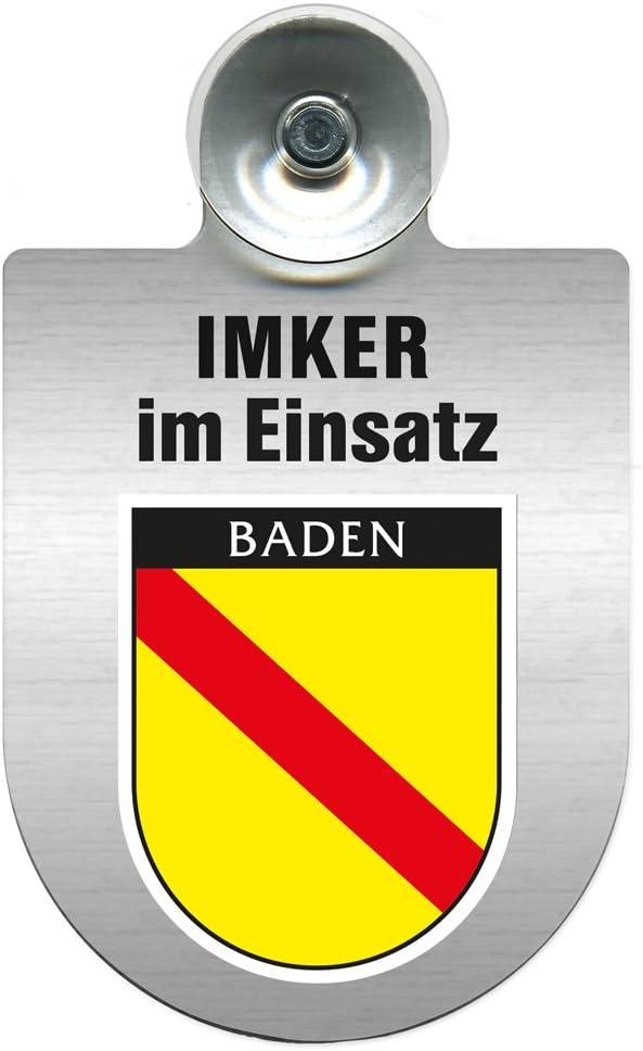 Regionenwappen nach Wahl Farbe Region Mecklenburg-Vorpommern Einsatzschild mit Saugnapf Imker im Einsatz 309382 incl