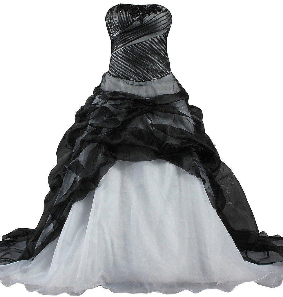 ANTS Women's Strapless Organza Black Wedding Dress Ball Gown K497-MFN