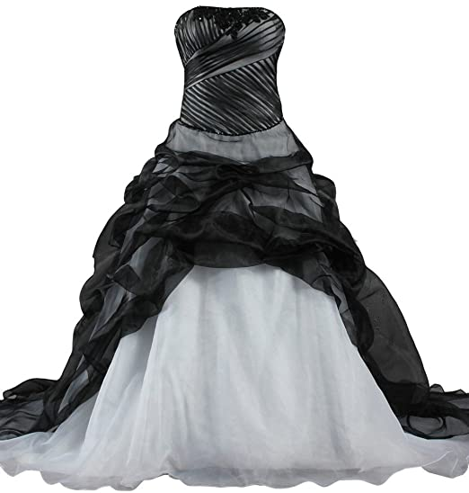 Ants Womens Strapless Organza Black Wedding Dress Ball Gown At