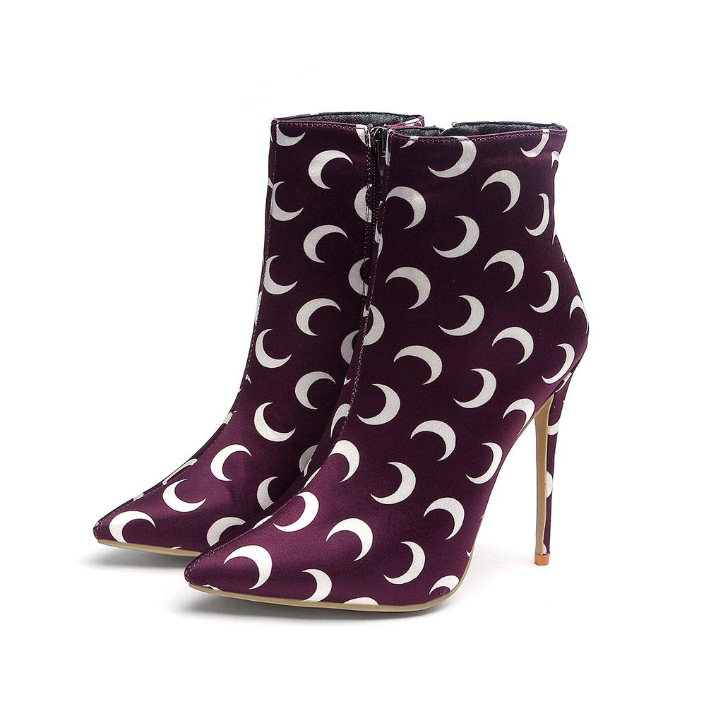 764aea6f311be Amazon.com: FCXBQ Printed High-Heeled Boots Ankle Boots Ladies Large ...