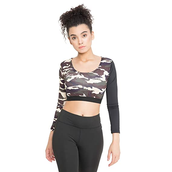 99f9f6066d024 CHKOKKO Camouflages Full Sleeve Round Neck Yoga Gym Wear Workout Crop Top  for Women Brown XS