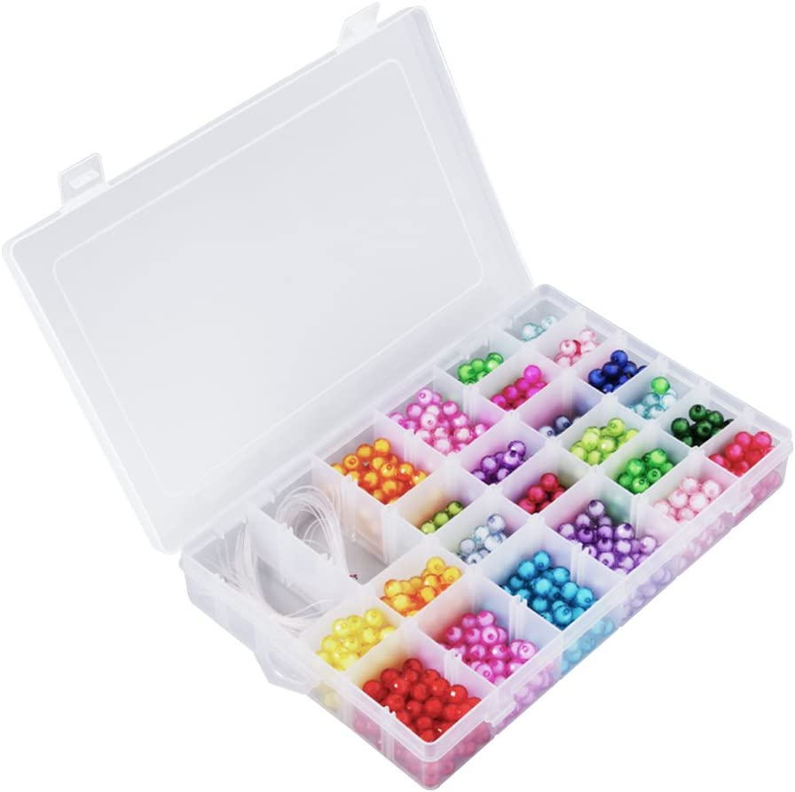 36 Comparments 2 Pack Thread Organizer with Adjustable Dividers Transparent Storage Box for Beads Opret Plastic Jewelry Organizer Letter Board Letters Embroidery Floss and Craft