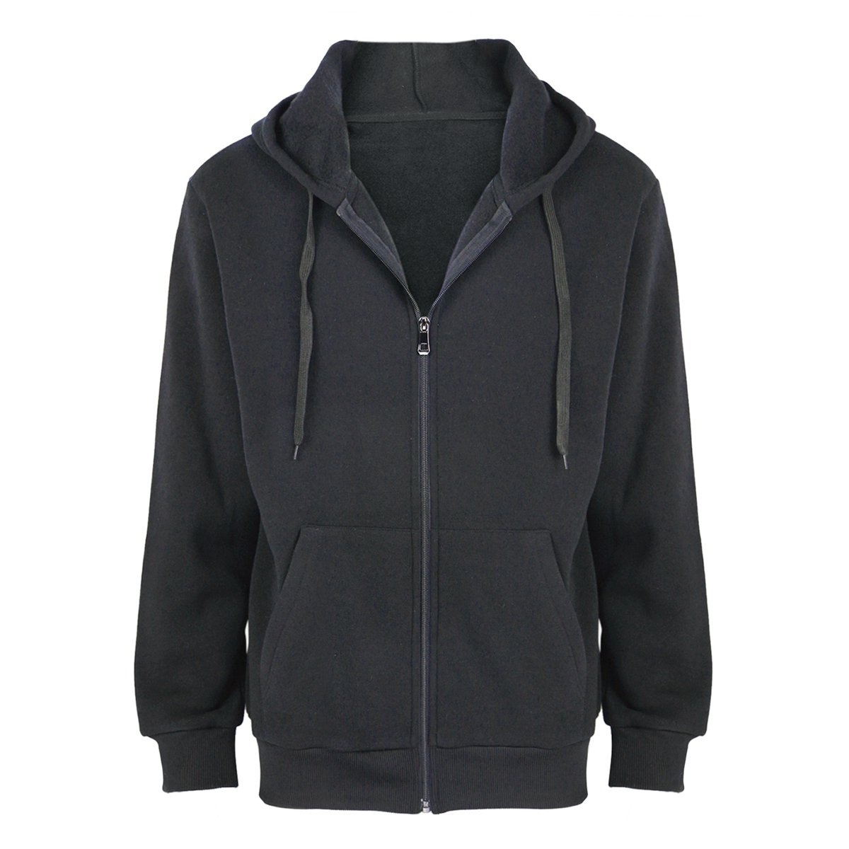 Urimoser Men's Basic Full Zip Hoodies Cotton Fleece Long Sleeve Lightweight Sweatshirts (Black, 2XL)