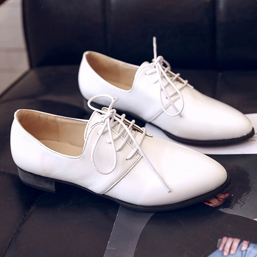 Comfy Lace-up Low Heel Pointed Toe Casual Shoes T-JULY Womens Fashion Oxfords Shoes